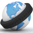 Belt from a tire will give on a globe — Stock Photo