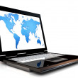 World map on the computer — Stock Photo #10012339