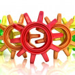 Colour gears isolated on white. Work concept. — Stock Photo