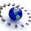 Computer Network around the World - Stockfoto