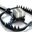 Photo: Finance risk concept. Dollar banknotes on bear trap.