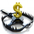 Photo: Finance risk concept. Sign dollar on bear trap.