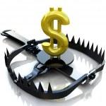 concetto di rischio finanziario. Dollaro segno su bear trap — Foto Stock