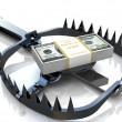 Finance risk concept. Dollar banknotes on bear trap. — Photo