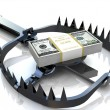 Stockfoto: Finance risk concept. Dollar banknotes on bear trap.