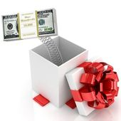 Open Gift box with joke surprise over white background. 3d illustration. — Stock Photo