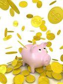 Regent gouden munten en piggy bank — Stockfoto
