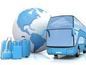 Transport d'autobus avec un globe et bagages — Photo