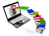 Books fly into laptop — Stock Photo