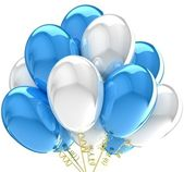3d party balloons birthday decoration multicolor. — Stock Photo