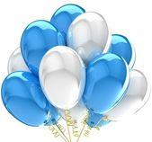 3d party ballons geburtstag dekoration multicolor. — Stockfoto