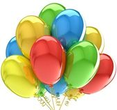 Balloons. Birthday and party decoration. Isolated on white. — Stock Photo