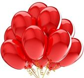 Party balloons colorful red. Decoration for anniversary celebration. — Stock Photo