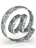 Email symbol wrapped 100 dollar banknote. — Stock Photo