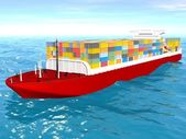 Cargo ship sails across the Ocean. — Stock Photo