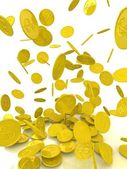 La lluvia de las monedas de oro. aislado en blanco. — Foto de Stock