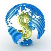 Abstracte wereldbol met dollarteken binnen. — Stockfoto