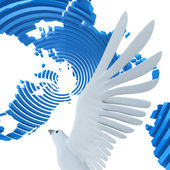 Dove in sliced abstract globe. 3d - render. — Stock Photo