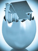 3d house appearing in broken egg shell — Stock Photo
