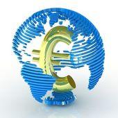 Streszczenie świecie symbolem euro wewnątrz. — Zdjęcie stockowe