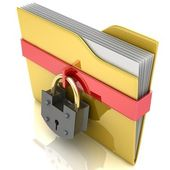 3D yellow folder and lock. Data security concept. — Stock Photo