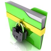 3D folder and lock. Data security concept. — Stock Photo
