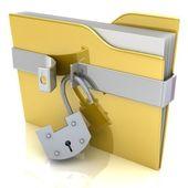 3 d の黄色のフォルダーとロックされていないロック. — ストック写真