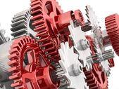 Gears isolerade på vitt. arbetskonceptet. — Stockfoto