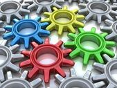 Engranajes de color aislados en blanco. concepto de trabajo. — Foto de Stock