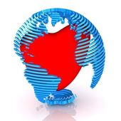 Sliced abstract globe with red heart inside. — Stock Photo