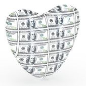 Heart with 100 dollar banknote isolated on white background. — Stock Photo