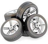 3d car wheels on white background. — Stock Photo