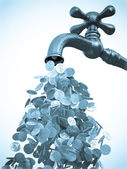 Money flow from metal tap — Stock Photo