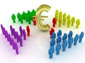 Teamwork. Concept. 3d illustration color with Euro symbol. — Stock Photo