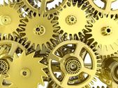 3d golden gears. Work concept. — Stock Photo