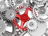 3D metallic gears background. Work concept. — Stock Photo