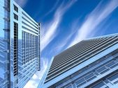 Modern skyscrapers on cloudscape background — Stock Photo
