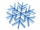 Icy snowflake on white — Stock Photo