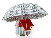 Protection of property with 100 dollar umbrella — Stock Photo