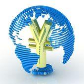 Abstract globe avec le symbole du yen à l'intérieur. — Photo