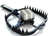 Finance risk concept. Dollar banknotes on bear trap. — Stock Photo