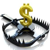 Finance risk concept. Sign dollar on bear trap. — Stock Photo