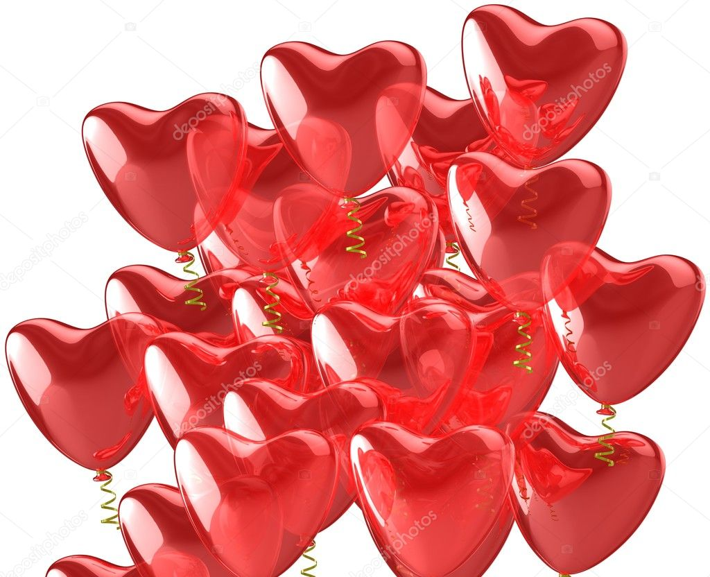 Heart red balloons. Wedding romantic decoration. Isolated on white background — Stock Photo #10012205