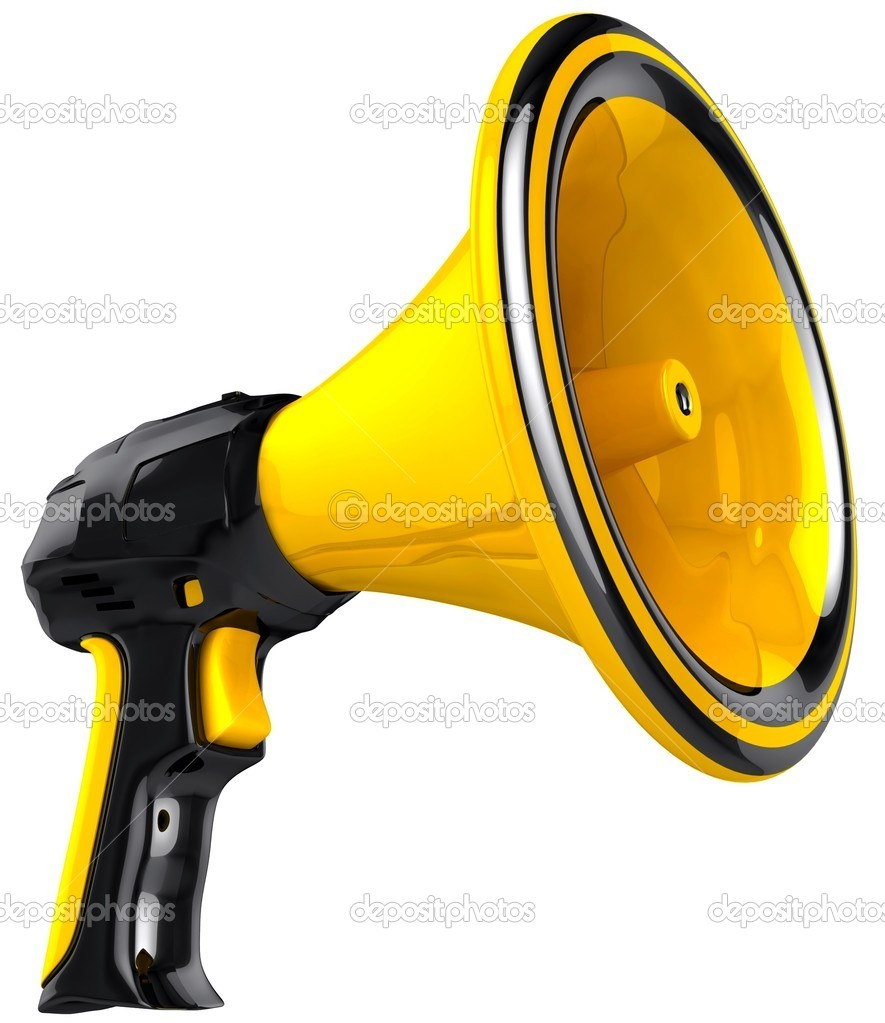 Megaphone blog announce. 3D Black and yellow loudspeaker model. Support propaganda public concept. Isolated on white background.  — Stock Photo #10224422