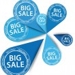 Big blue Sale stickers, vector illustration — Stock Vector #10517157