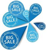 Big blue Sale stickers, vector illustration — Stock Vector