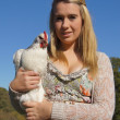 Girl Holding Chicken — Stock Photo