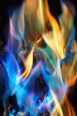 Blue and Orange Flames — Stock Photo
