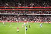 Arsenal playing QPR 31st Dec 2011 — Stock Photo