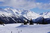 Skiing down Piste — Stock Photo